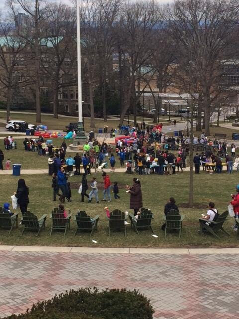 photo of people milling around on lower campus